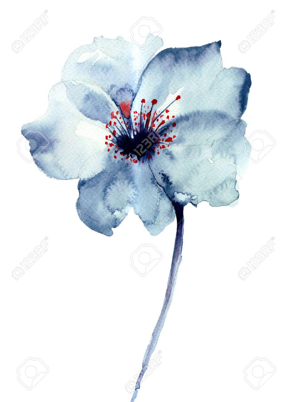Fleur bleue décoratifs, illustration d'aquarelle Banque d'images - 20673935