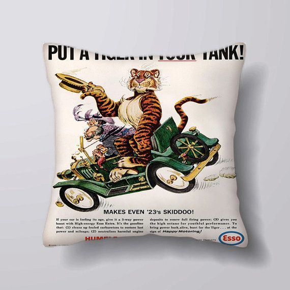 Esso Tiger in Your Tank Printed Fabric Panel Make A Cushion Upholstery Craft