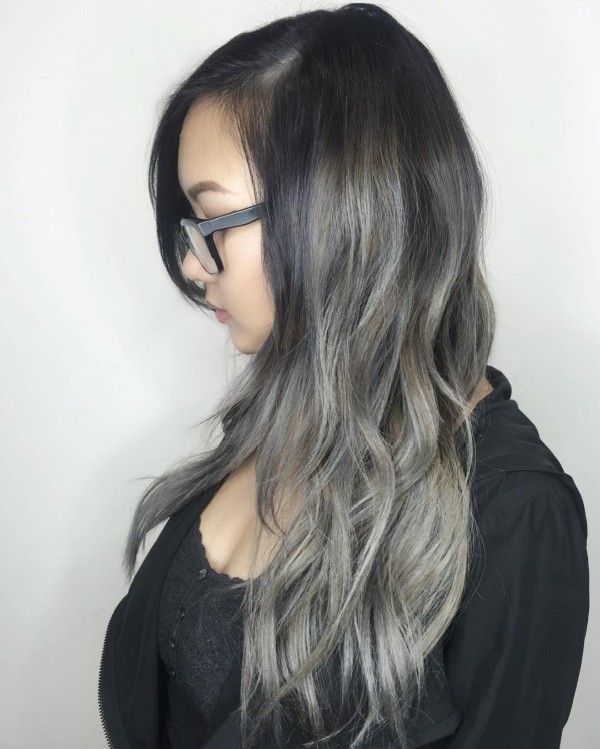 Dirty Gray Highlights On Long Black Hair Highlights Up