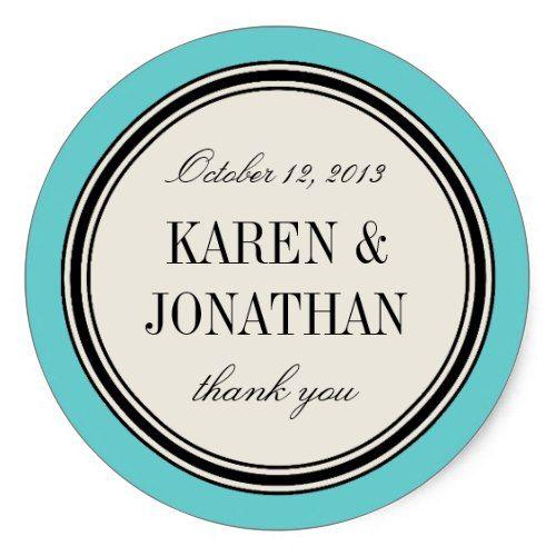 Round Vintage Label, Wedding Favor Template, Blue Classic Round