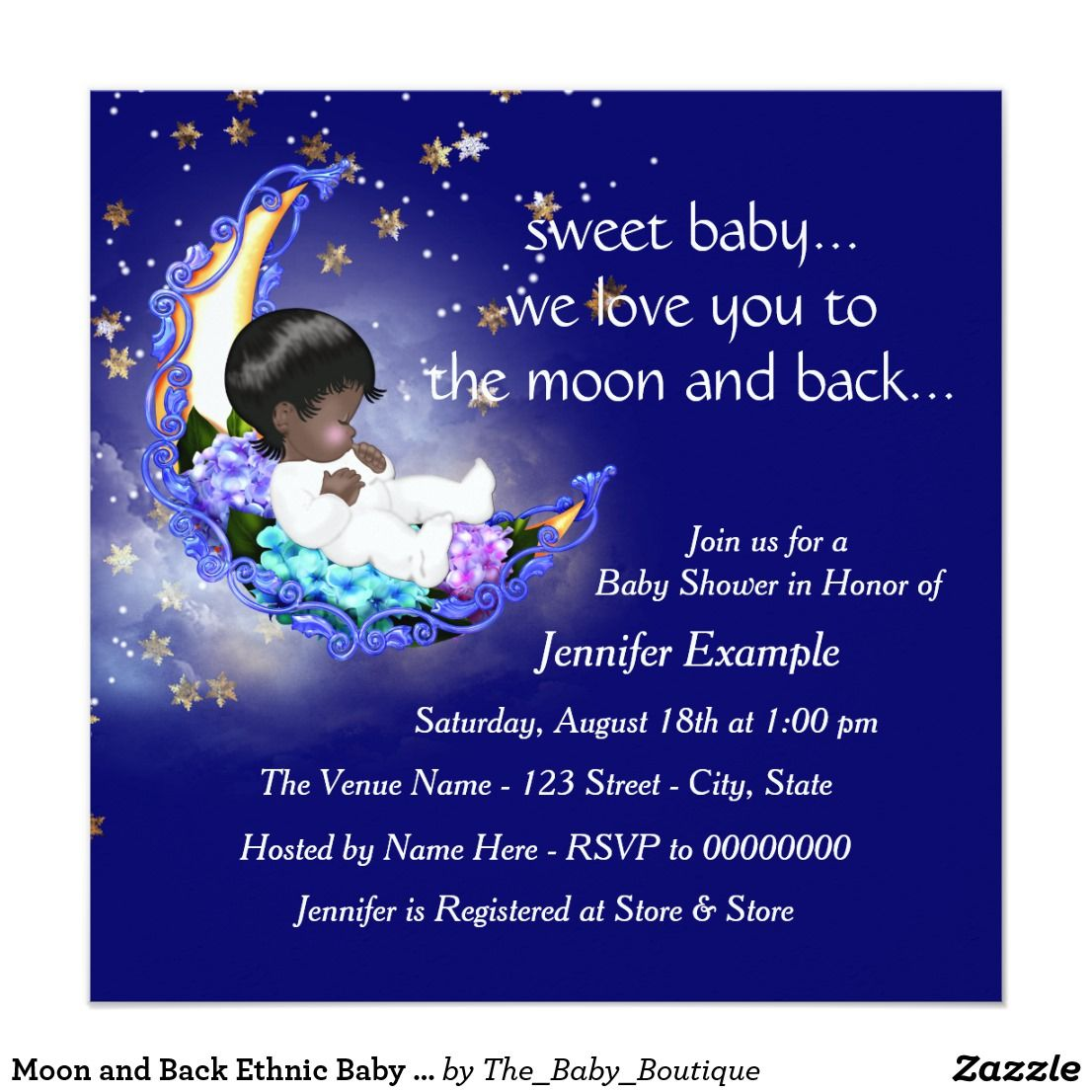 Moon and Back Ethnic Baby Shower Card | Baby boy shower invitations ...