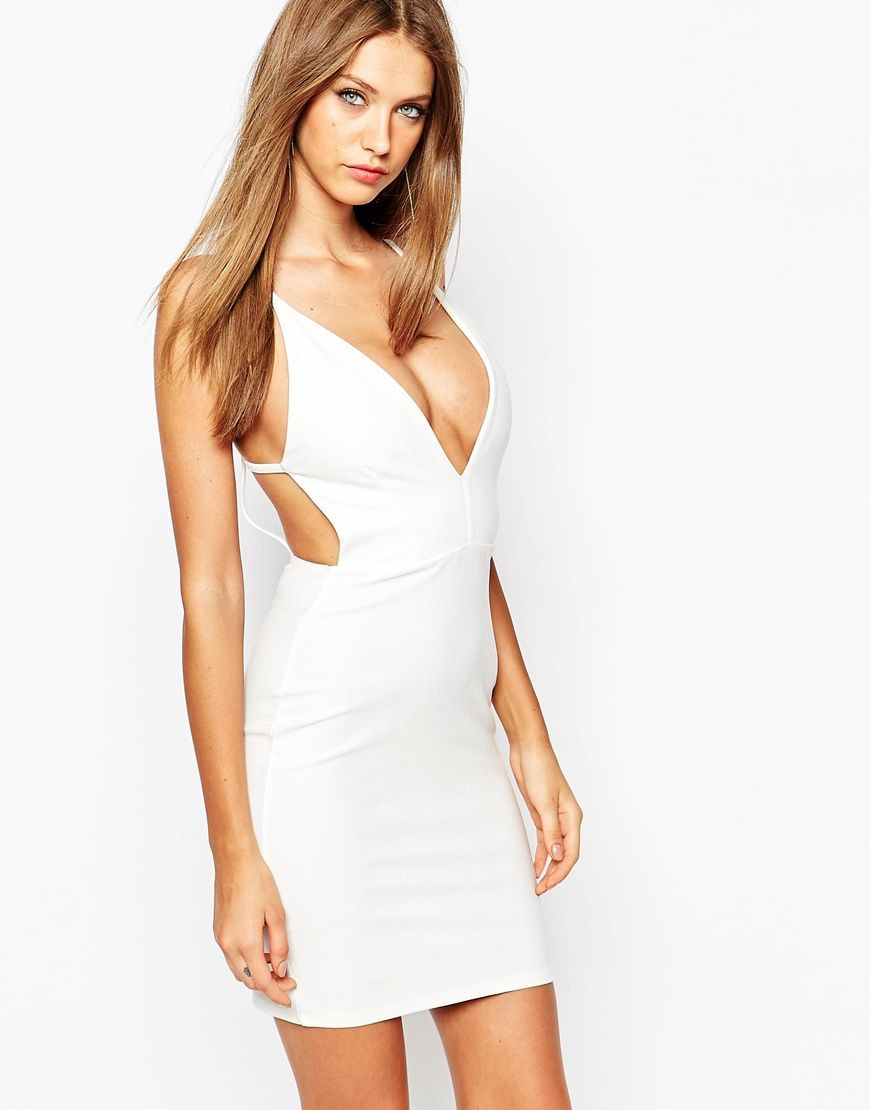 Image 1 of Missguided White Plunge Neck Mini Dress | get fancy ...