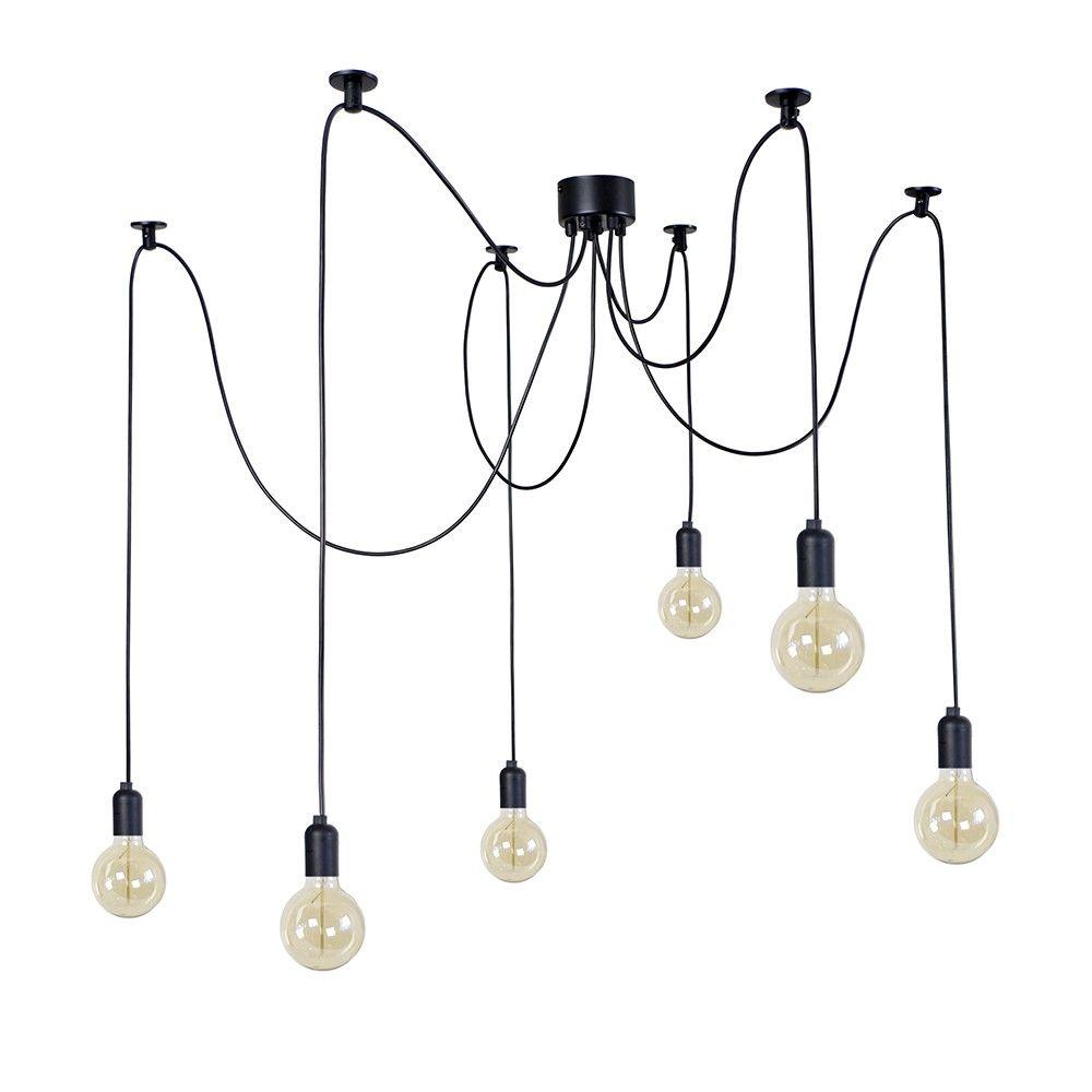 Soldes Suspension 6 Tetes Noire Denver Suspension Luminaire Decoration Ampoule Vintage Luminaire Suspension Luminaire