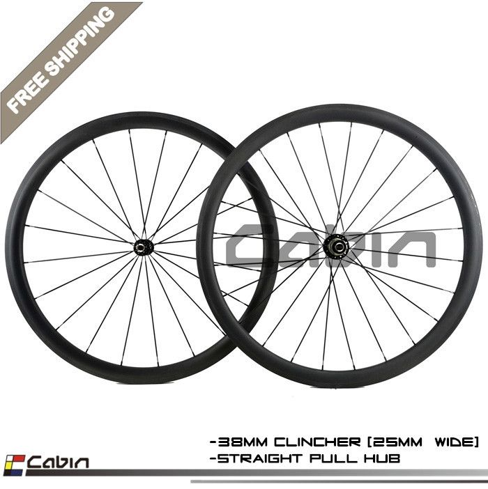 High Quality 38mm Clincher 25mm Width Carbon Wheels With Powerway