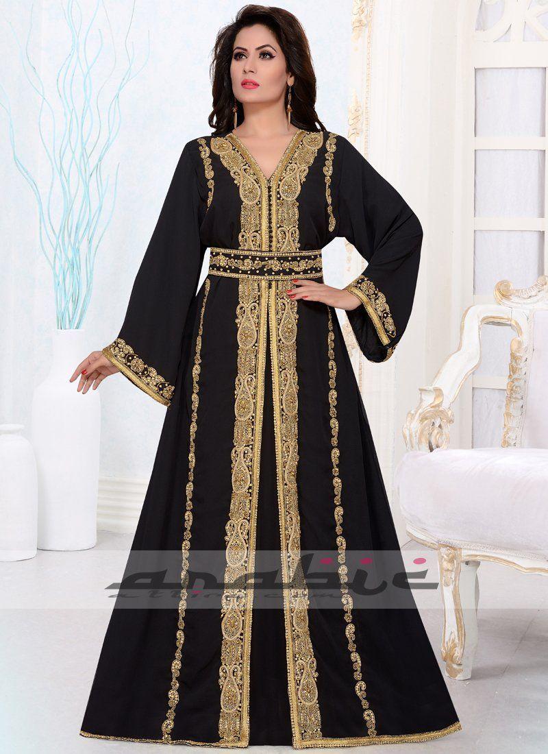 e2be698e03 Black and Gold Heavy Embroidered #Islamicwomen Moroccan #caftan.  #womenabaya #blackkaftan #womenkaftan #partykaftan #moroccandress  #moroccancaftan