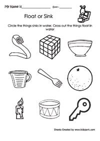 Circle The Things That Sinks,Kindergarten Activity Sheets,EVS Work ...