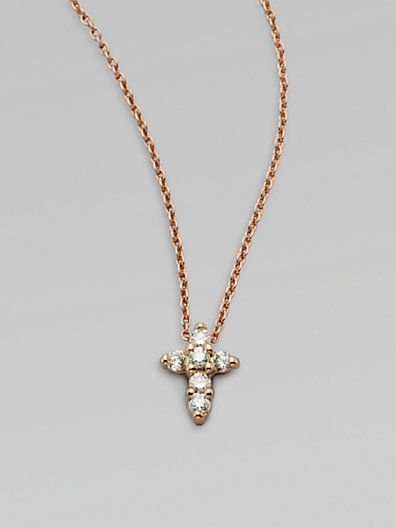 Roberto coin 18k rose gold diamond mini cross pendant necklace roberto coin 18k rose gold diamond mini cross pendant necklace saks aloadofball Image collections