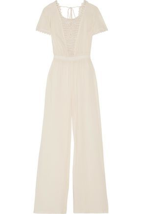 Outlet Cheap Prices Buy Cheap Comfortable Loveshackfancy Woman Crochet-paneled Cotton-voile Jumpsuit Ivory Size 1 LoveShackFancy Huge Surprise Outlet Online Fashionable EDKNixV