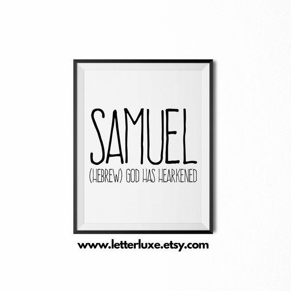 Baby Name Wall Art samuel name meaning art - printable birthday gift   nursery art