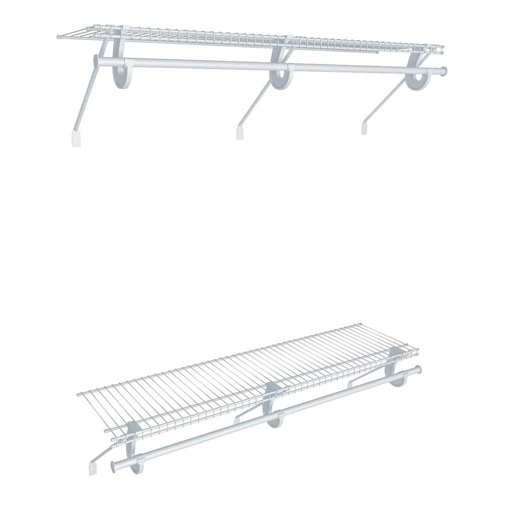 Closetmaid Superslide 12 In D X 48 In W X 36 In H White Wire Fixed Mount Double Hang Reach In Closet Kit 17855 In 2020 Closet System Wire Shelving Reach In Closet