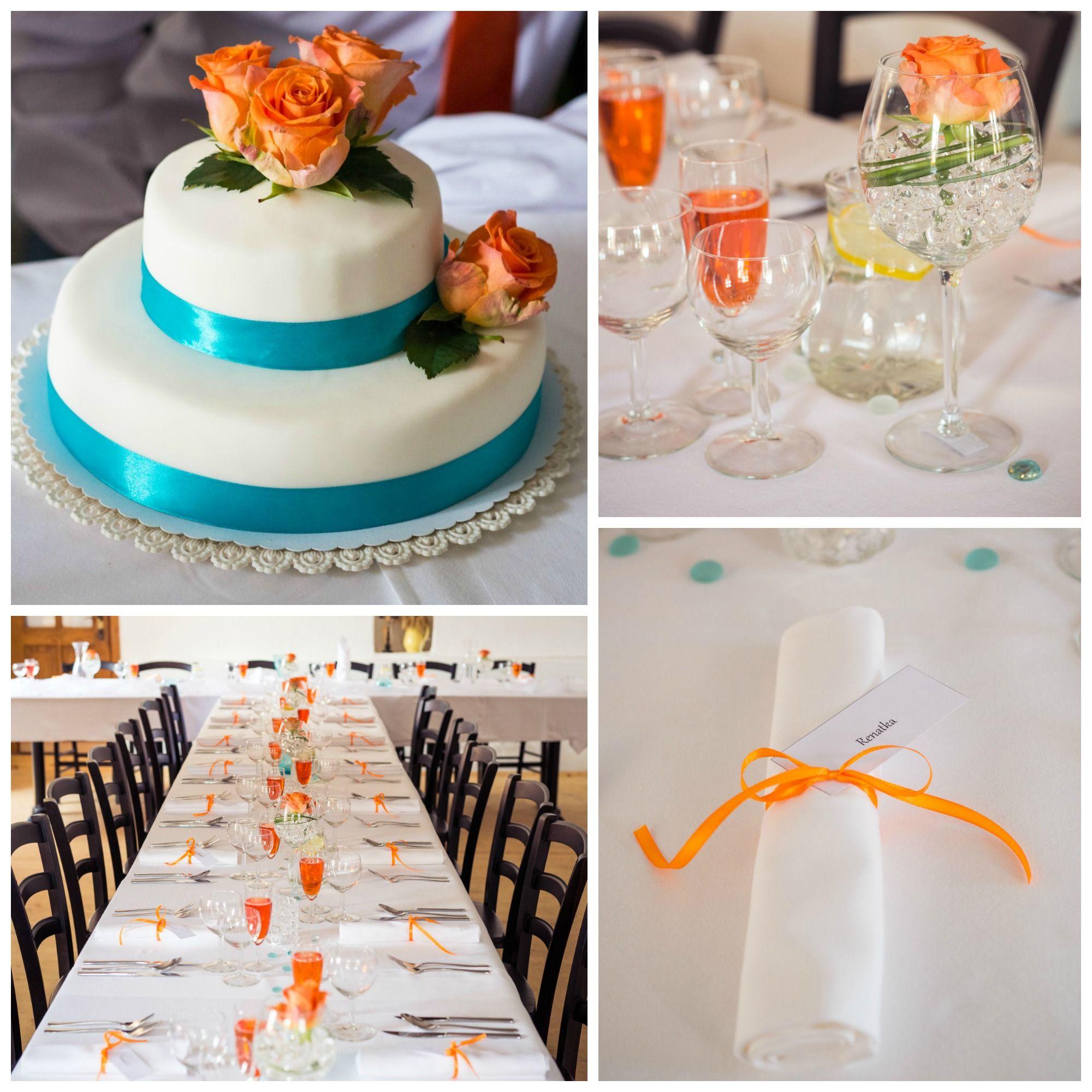 Orange And Turquoise Wedding Decorations, Wedding Cake