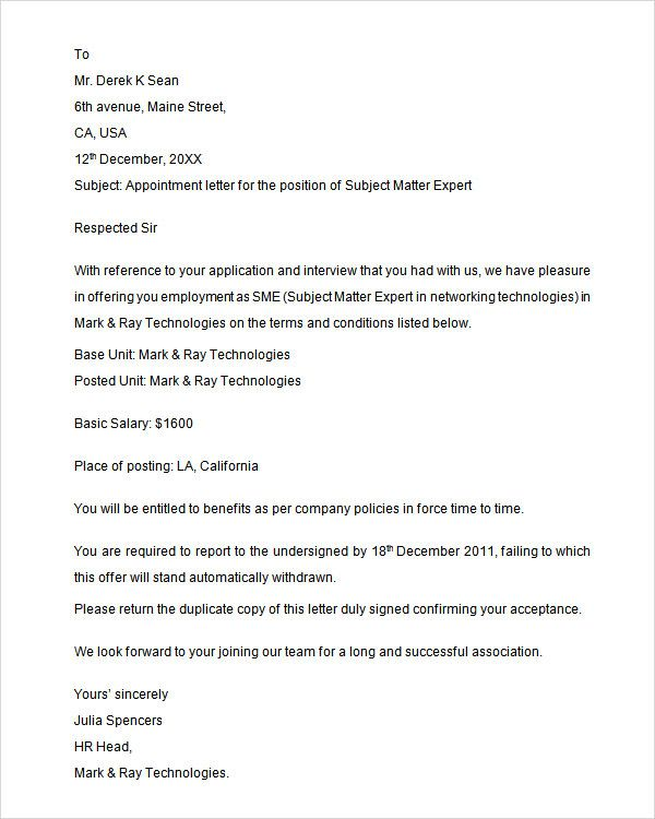 sample appointment letter download free documents pdf word agent