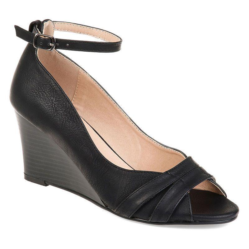 7f908944d0e0 Journee Collection Womens Palmer Pumps Buckle Peep Toe Wedge Heel ...