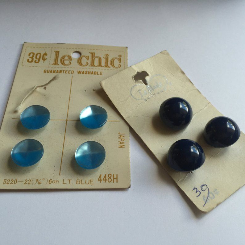 Vintage Buttons, Buttons Lot, Vintage Sewing Buttons, Blue
