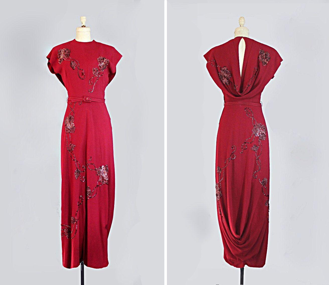 Vintage 1940s Dress 40s Evening Gown Sequined Draped Size Extra Small Small 1940s Evening Dresses 1940s Dresses Dresses 40s [ 1134 x 1311 Pixel ]