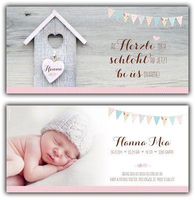 Hanna: Geburtskarte 210x100 mm // Karte auch in «Jungen-Farben ...