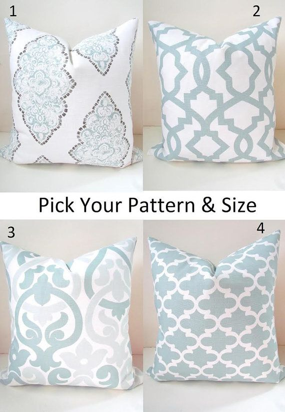 PILLOWS MIX MATCH Blue Throw Pillow Covers Snowy Silver Blue