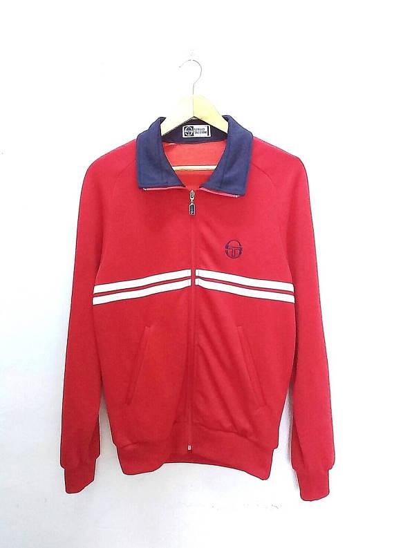 b6d3c15274b53 Rare Vintage 80s SERGIO TACCHINI DALLAS Multicolour Track Top Sweater Retro  Casual Class