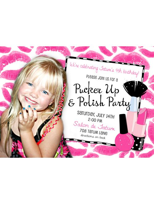 "A Pucker Up & Polish birthday party! I asked my almost 4 yr old, what kind of party she'd like to have this year. She responded, ""A polish party!"". She loves getting her nails painted and playing in mommy's make-up (what girl doesn't?!?) :) So we'll be doing musical manicures, pedicures, light make-up & glitter hair. More pictures to come..."