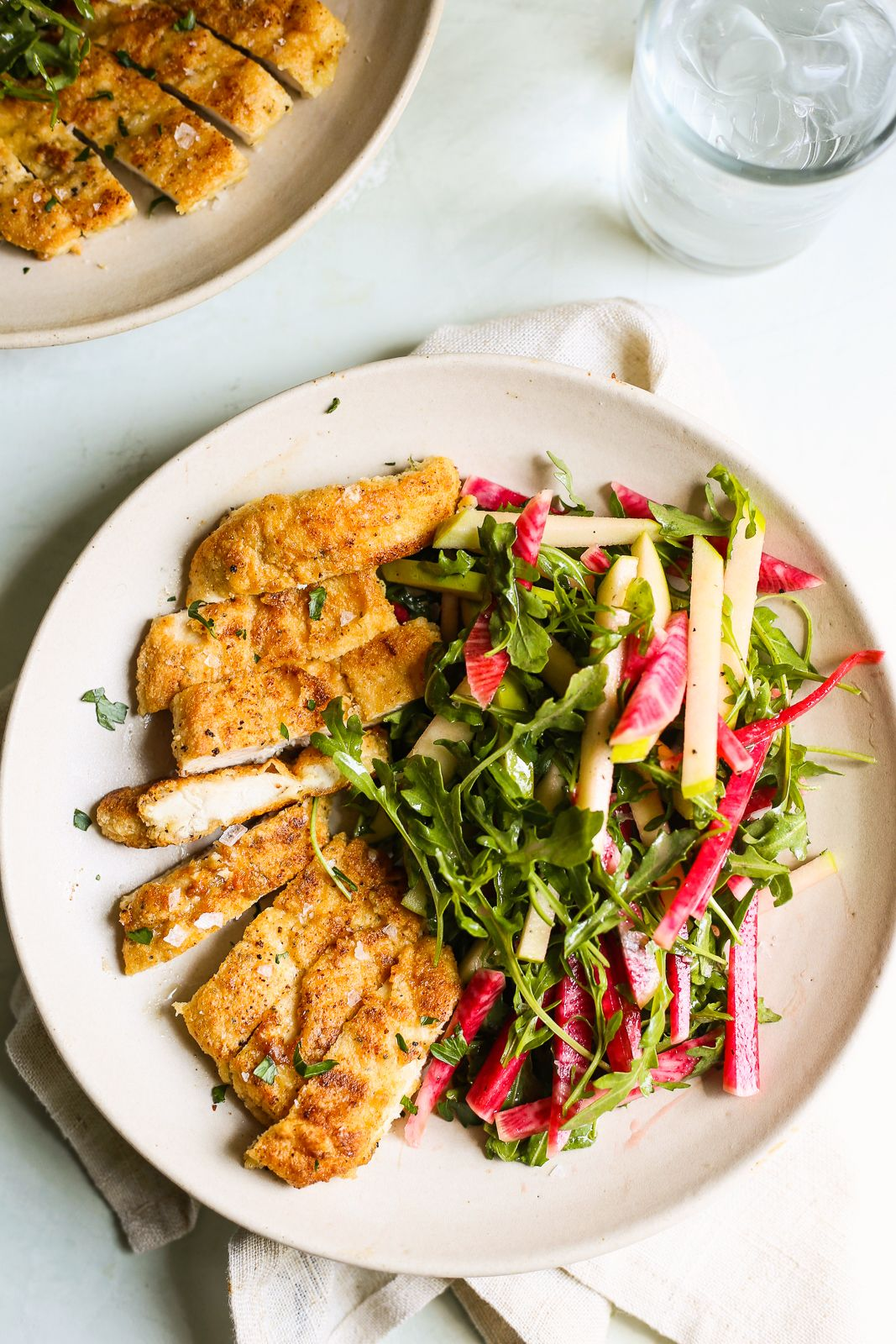 Grain Free Chicken Milanese with Green Apple and Radish