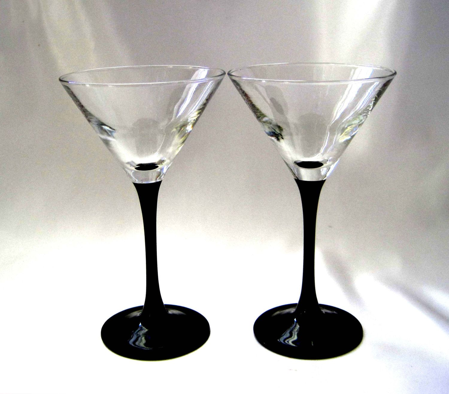 Wine Glasses With Black Stems 2 Martini Glasses Luminarc France Black Martini Glass