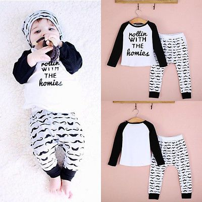 2PC Infant Baby Boys Outfit Kids Boy Clothes Clothing Outfits Sets Shirt Pants