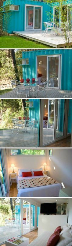 This Bright, Cheerful Turquoise Shipping Container Cabin Is Perfect For  Poolside Camping In! Alterra Glamping Is An All Natural Resort Near The  Beach.
