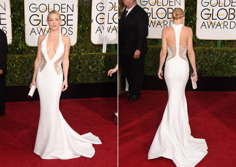 Love everything abou the dress and styling! #goldenglobes2015 #thestyleplacebyjg #katehudson