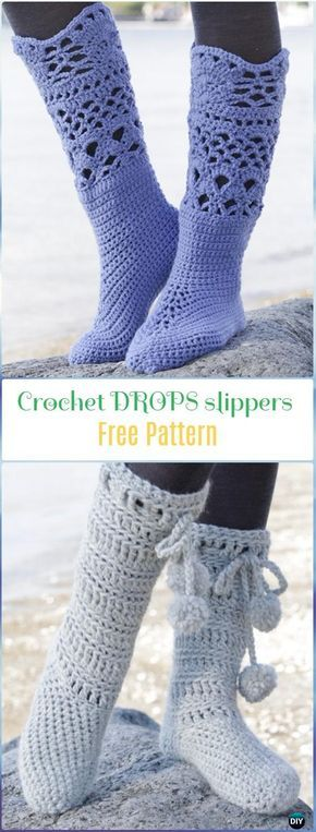 Crochet Drops Slippers Boots Free Pattern Crochet High Knee Crochet