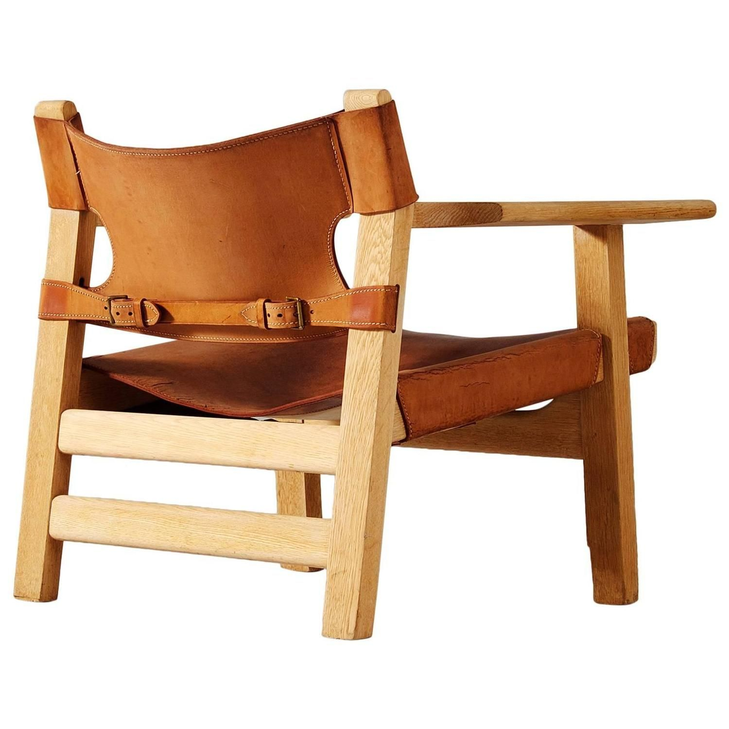 Børge Mogensen 'Spanish Chair' in Solid Oak and Cognac Leather is part of Spanish chairs - For Sale on 1stdibs  'Spanish Chair' in solid oak and cognac leather by Børge Mogensen  Manufactured by Fredericia Furniture, Denmark, circa 1950  This design by Borge Mogensen