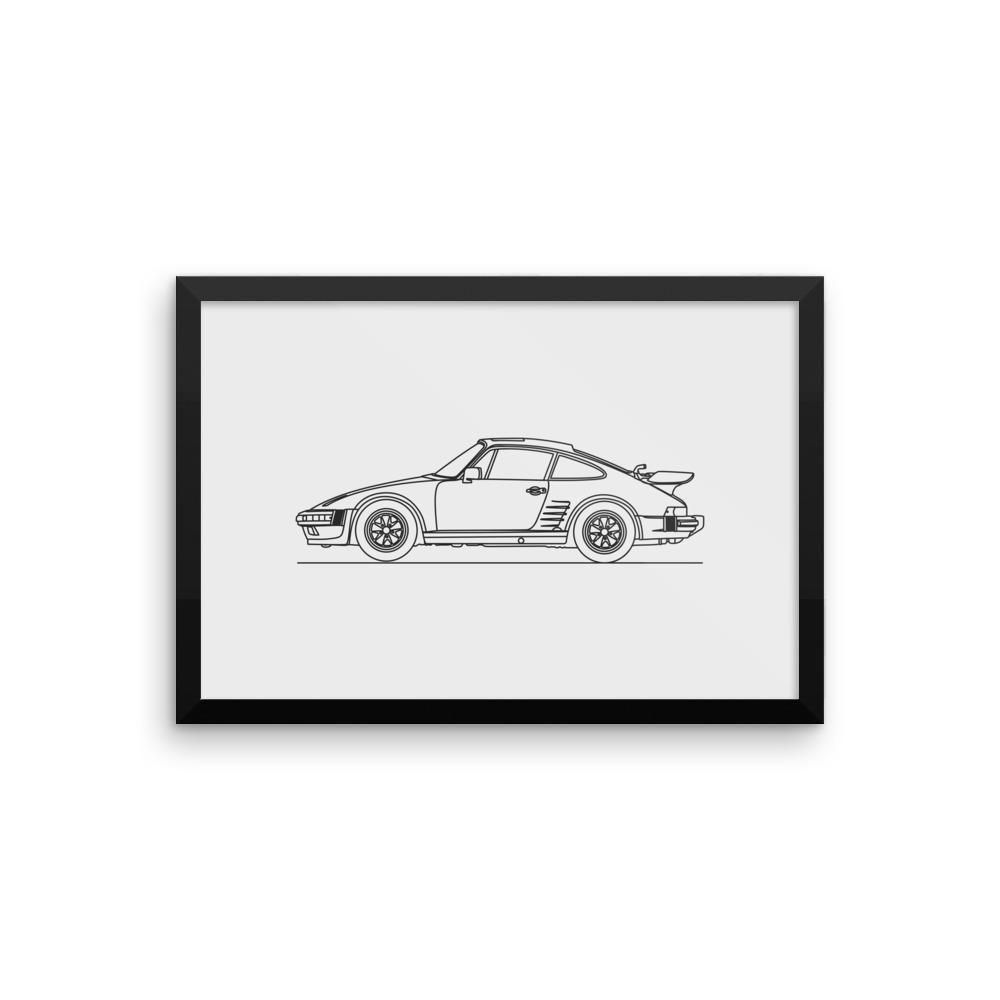 911 935 Turbo Minimal Line Art (framed)