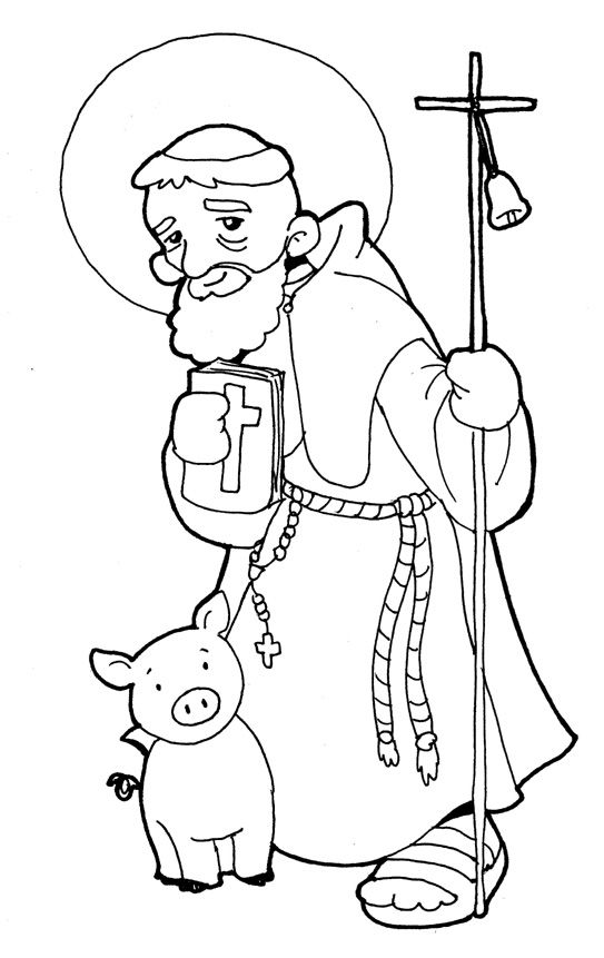 SAN ANTONIO ABAD para pintar.   ŚWIĘCI   Saints, Santos i Religion