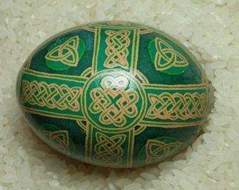 Celtic Cross knotwork themed pysanka, pysanky for Easter, Christmas and everyday ornamentation