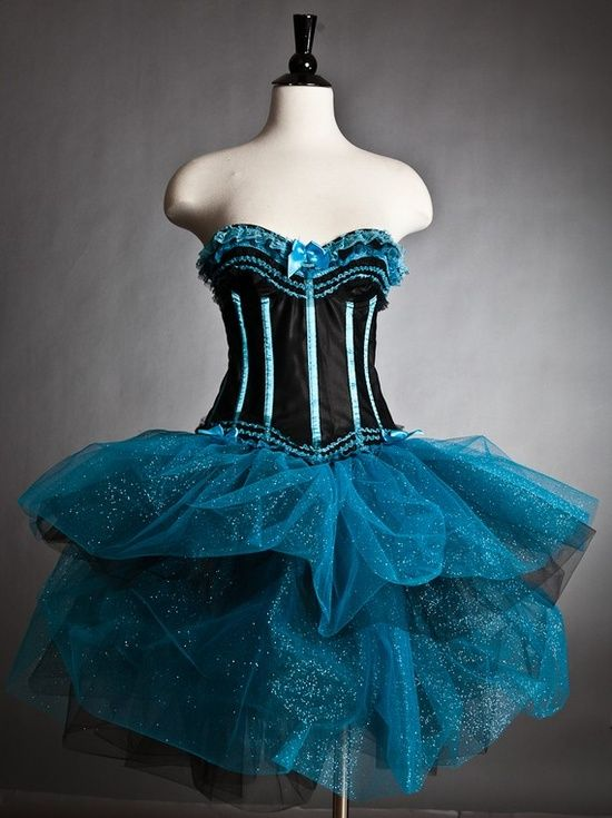 Custom Size Black and Turquoise Tulle Burlesque by Glamtastik,