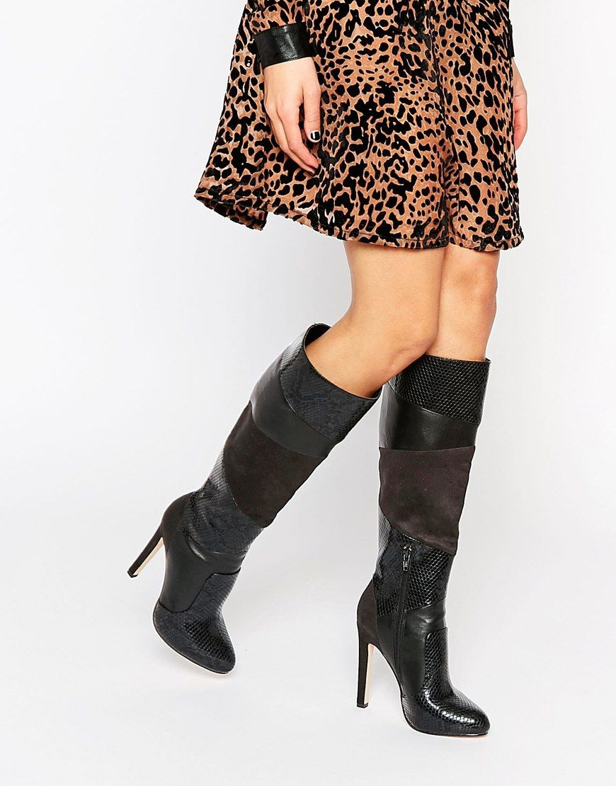 Buy Women Shoes / Asos Collective Patchwork Knee High Boots