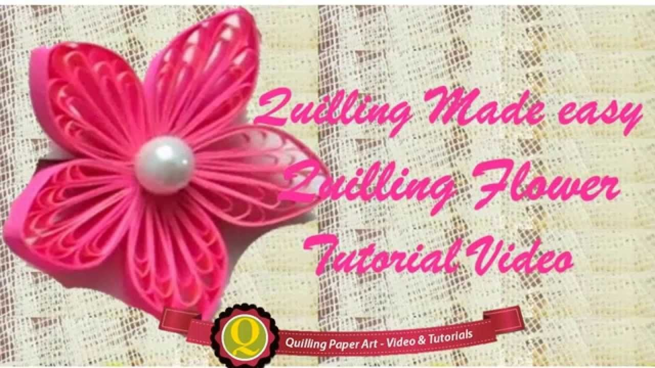 New : Art & Craft How to make Beautiful Quilling Pink.bead Flower design -Paper Art Quilling