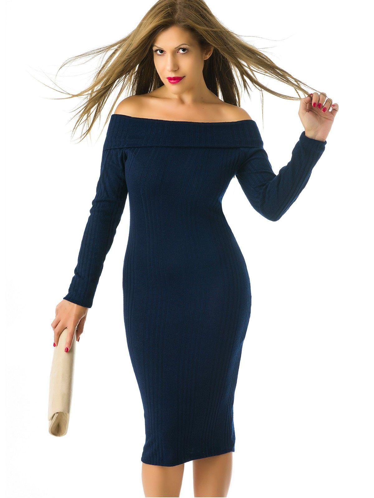 Vestidos de punto azul marino