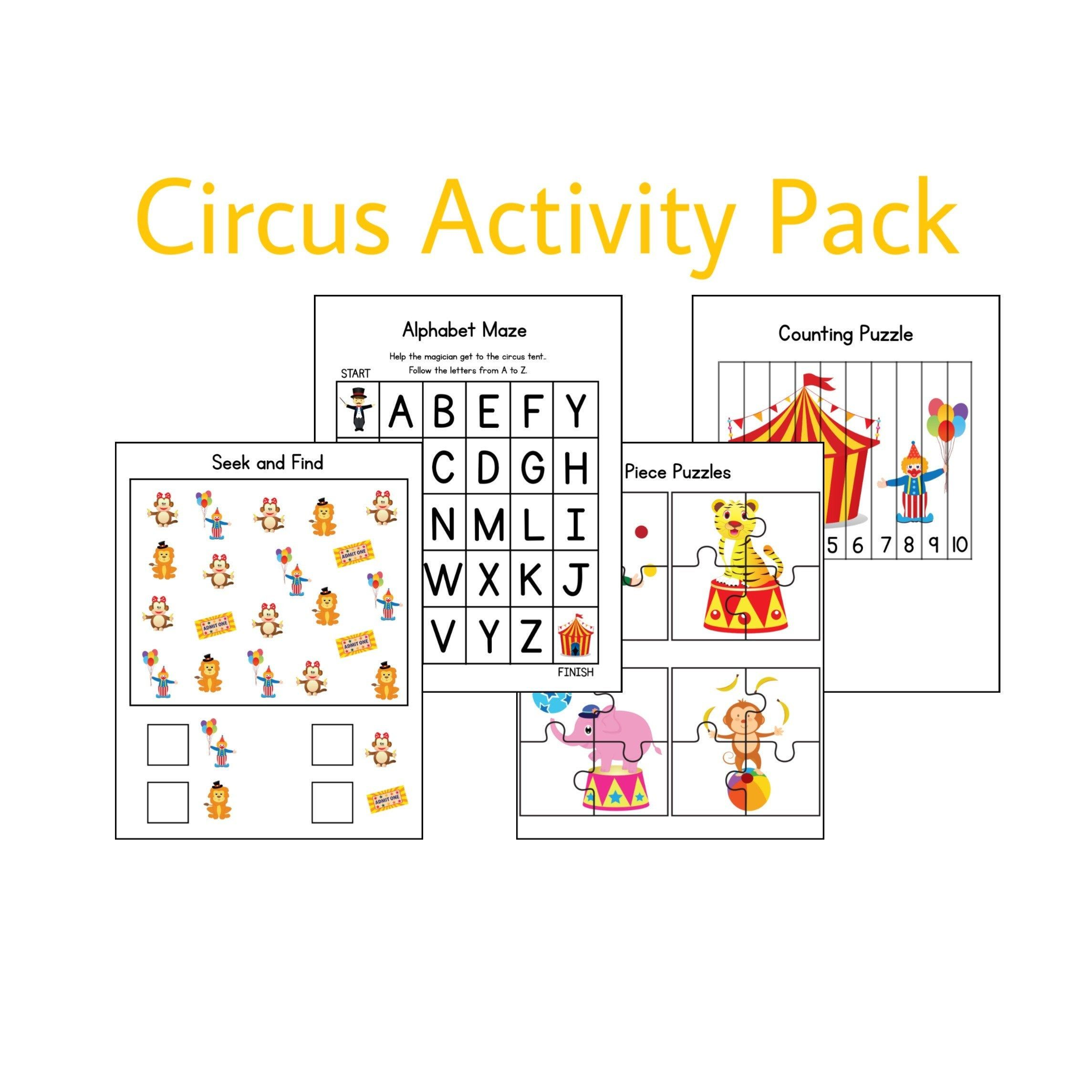 Circus Activities Learning Games Printable Worksheets