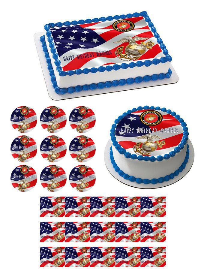 US MARINE CORPS Edible Birthday Cake Topper OR Cupcake