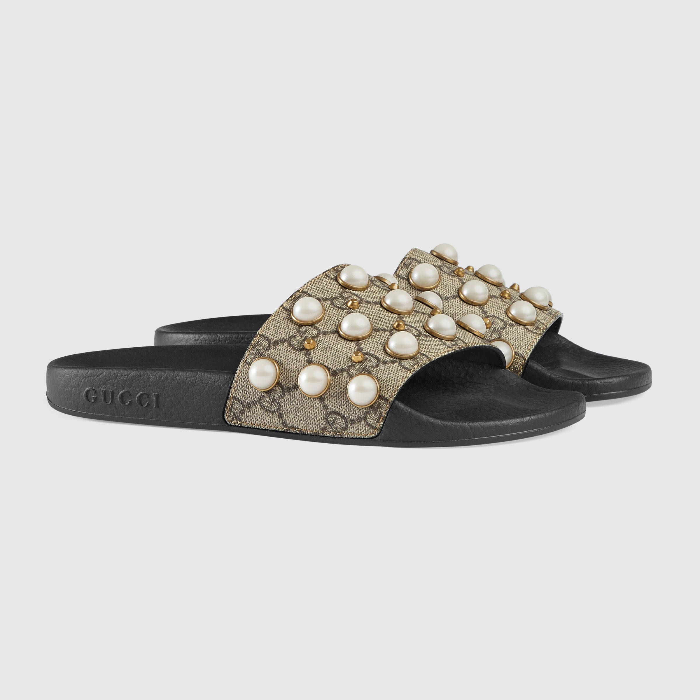 3d4feead Gucci GG Supreme slide with pearls Detail 2 | HOLINESS DOSEN'T MEAN ...