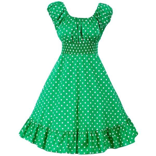 Sidecca Retro 1950s Polka Dot Smock Swing Plus Size Dress