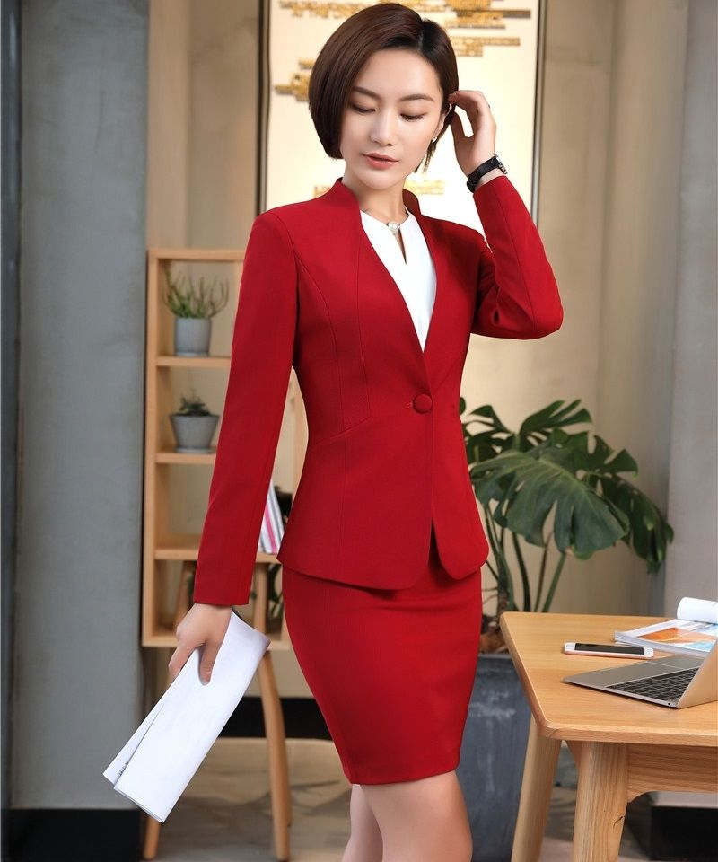 487e235c9d5 AidenRoy Office Uniform Designs for Women Business Suits with Skirt and  Jacket Sets Formal Ladies Red