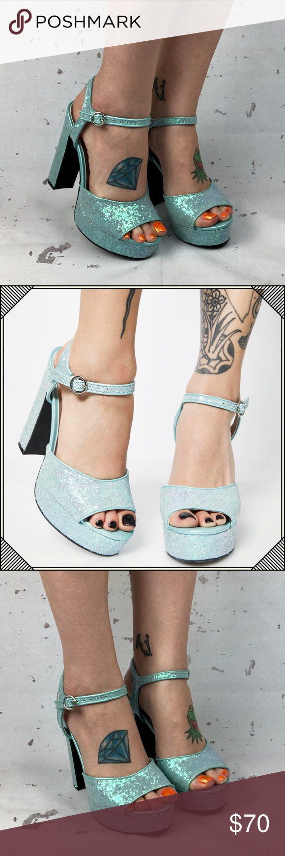 ebc499f9243 Glitter Platform Heels   Mint Green Chunky Heel Brand new! • Ask all  questions prior to purchase • Bundle   save • Feel free to make your best  offer!