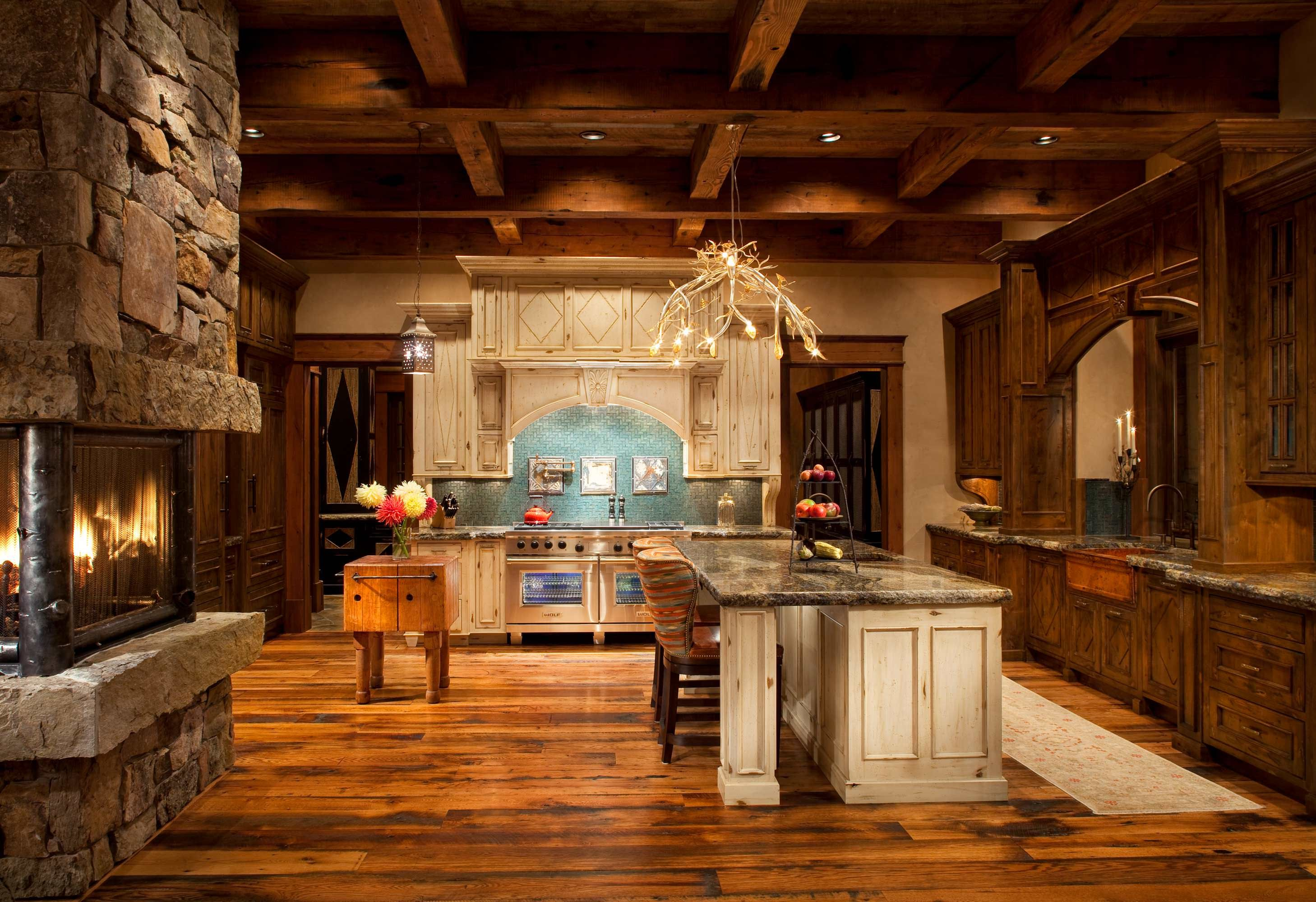 impressive kitchen features reclaimed fir ceiling joists and and a