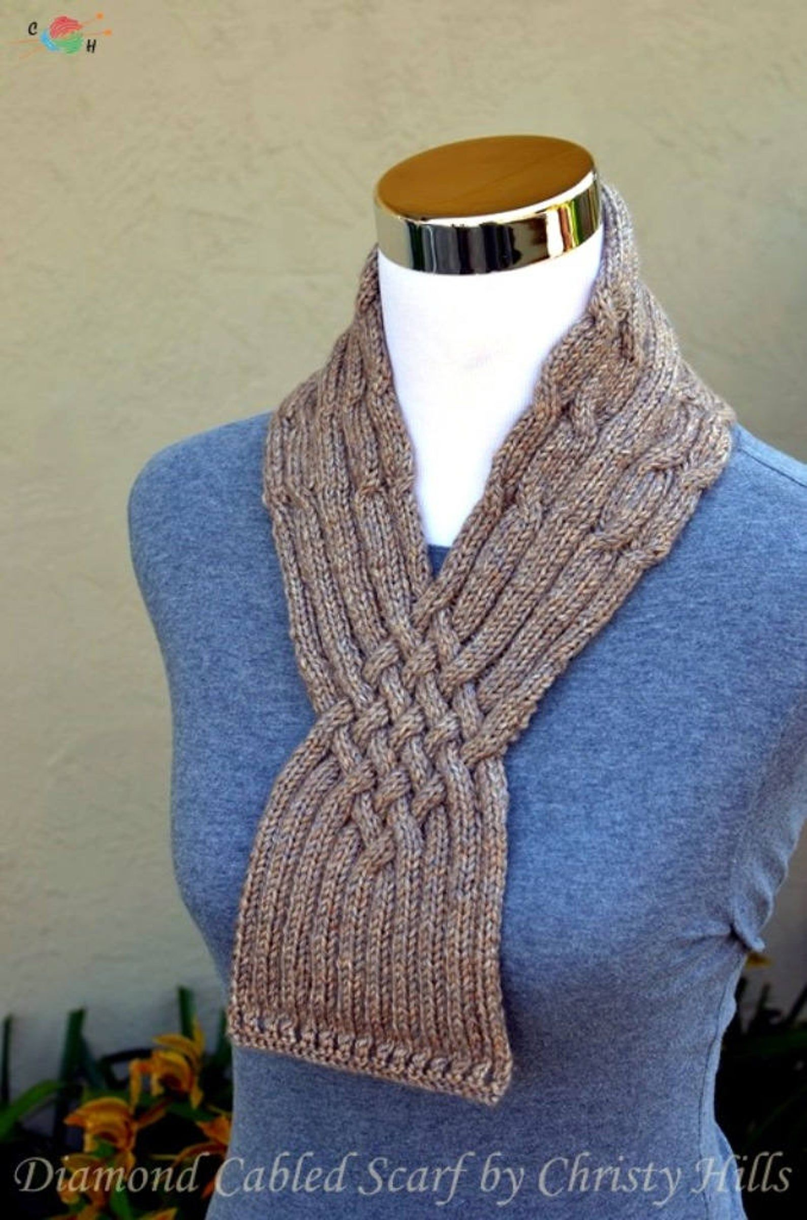 Photo of Knitting Pattern Only – Diamond Cabled Scarf