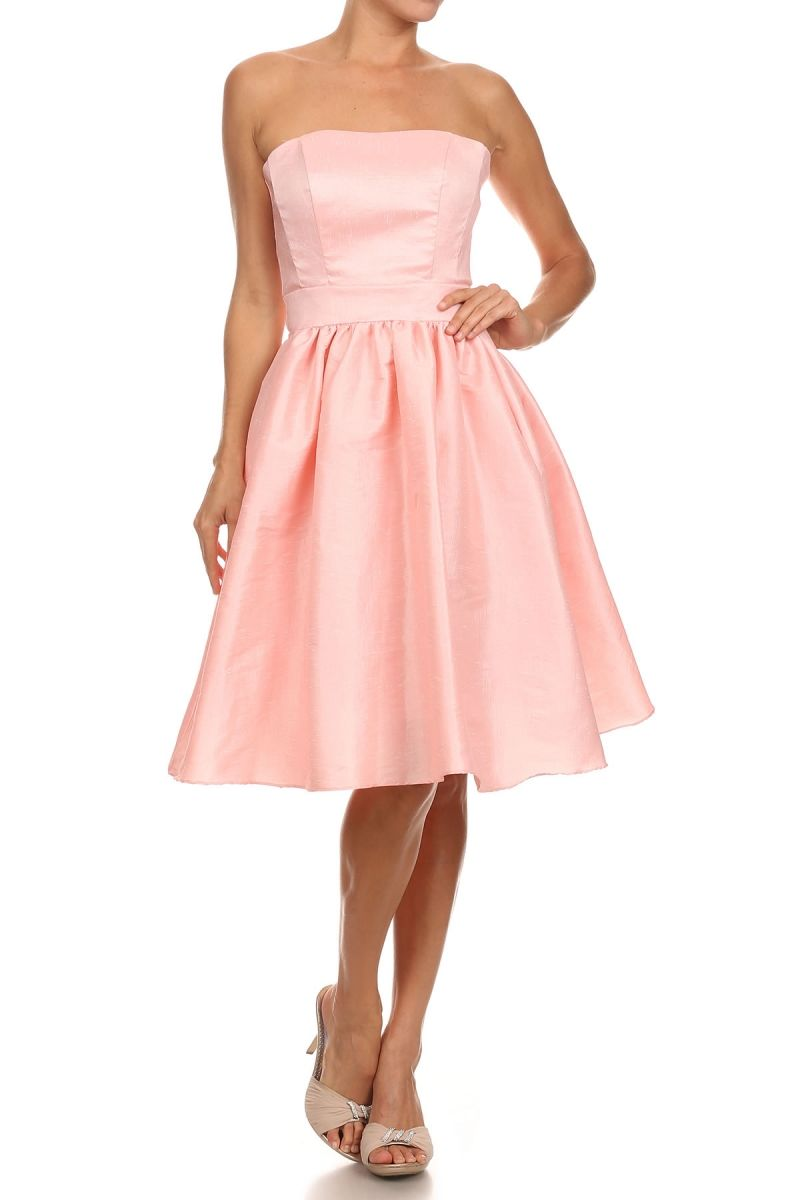 Strapless Short Bridesmaid Dress DR1521 Knee Length A-Line, Solid ...