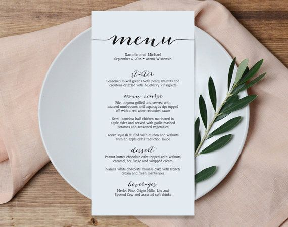 Wedding Menu Printable Template, Printable Menu, Menu Template