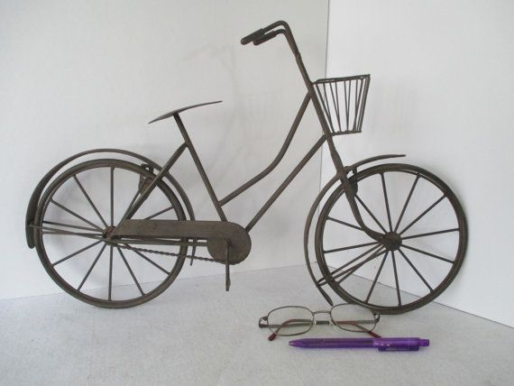 Metal Wall Art Bicycle Vintage Bike with Basket by HobbitHouse & Metal Bicycle High Wheel Big Wheel Penny-farthing High Wheeler ...