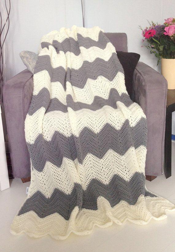Chevron blanket - Cream and gray crochet afghan throw | Mommy ...