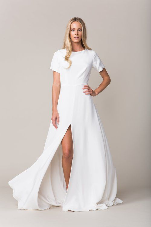 Explore Sarah Seven  Sleeve Wedding Dresses  and more Sarah Seven collection   Sullivan gown  Crepe cap sleeve  t shirt  . Sarah Seven Wedding Dresses. Home Design Ideas